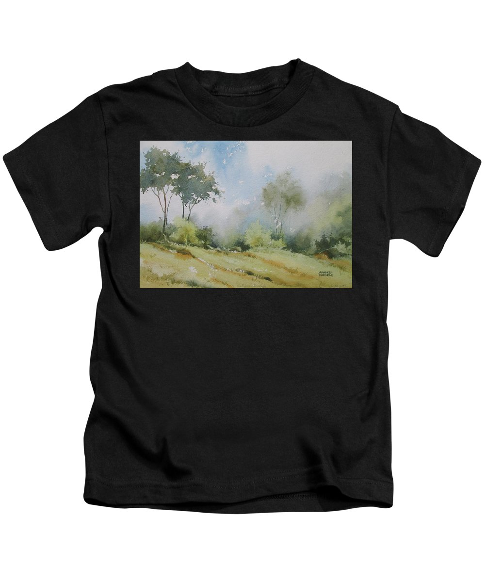Landscapes Kids T-Shirt featuring the painting Life On The Edge by Sandeep Khedkar