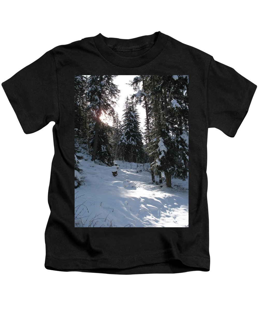 Snow Kids T-Shirt featuring the photograph Light And Shadow On A Snowy Landscape by Christiane Schulze Art And Photography