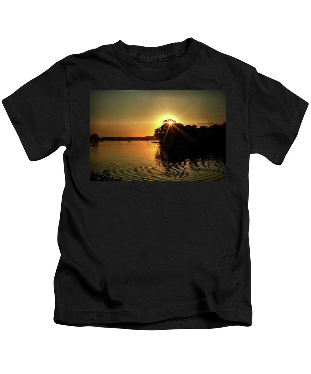Sunset Kids T-Shirt featuring the photograph Light Break Through At Sundown by Lilia D