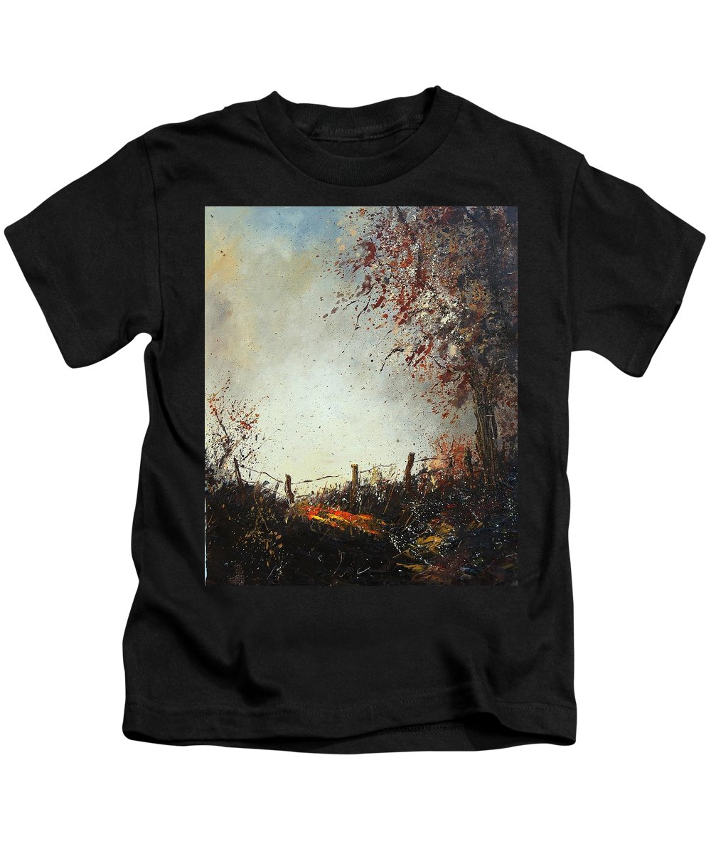 Tree Kids T-Shirt featuring the painting Light In Autumn by Pol Ledent