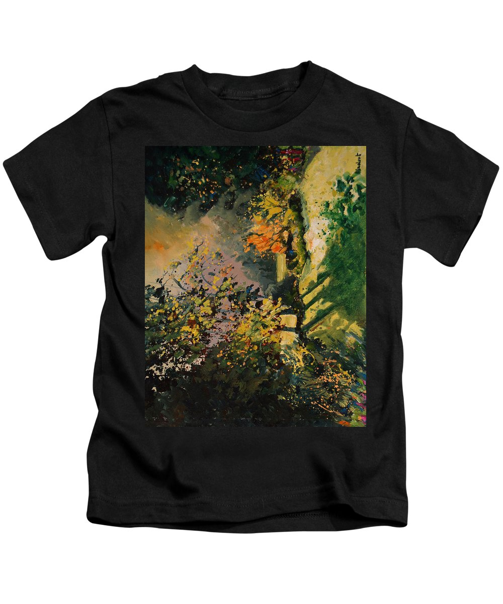 River Kids T-Shirt featuring the painting Light In The Wood by Pol Ledent