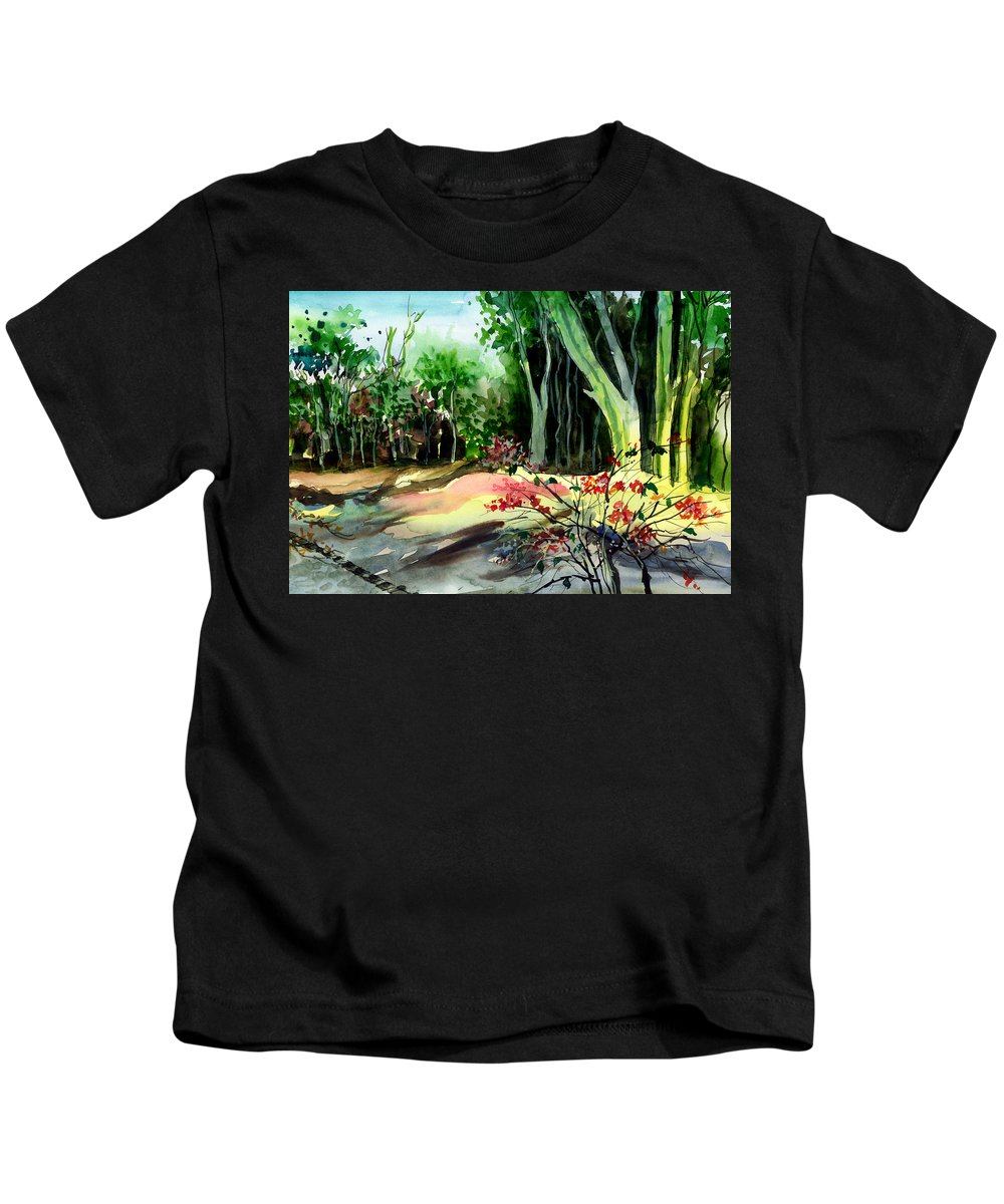 Watercolor Kids T-Shirt featuring the painting Light In The Woods by Anil Nene