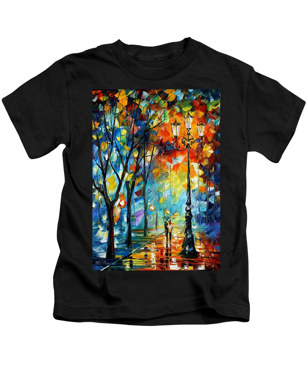Afremov Kids T-Shirt featuring the painting Light by Leonid Afremov