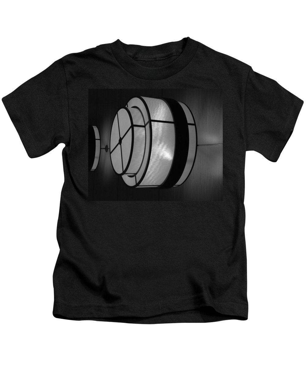 Black And White Kids T-Shirt featuring the photograph Lighted Wall In Black And White by Rob Hans