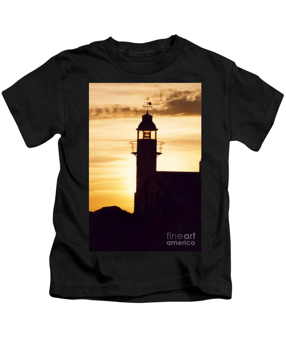 Serene Kids T-Shirt featuring the photograph Lighthouse At Sunset by Mary Mikawoz