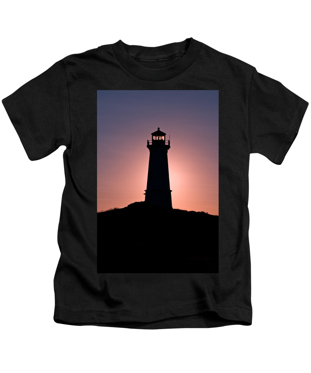 Background Kids T-Shirt featuring the photograph Lighthouse Eclipse by U Schade