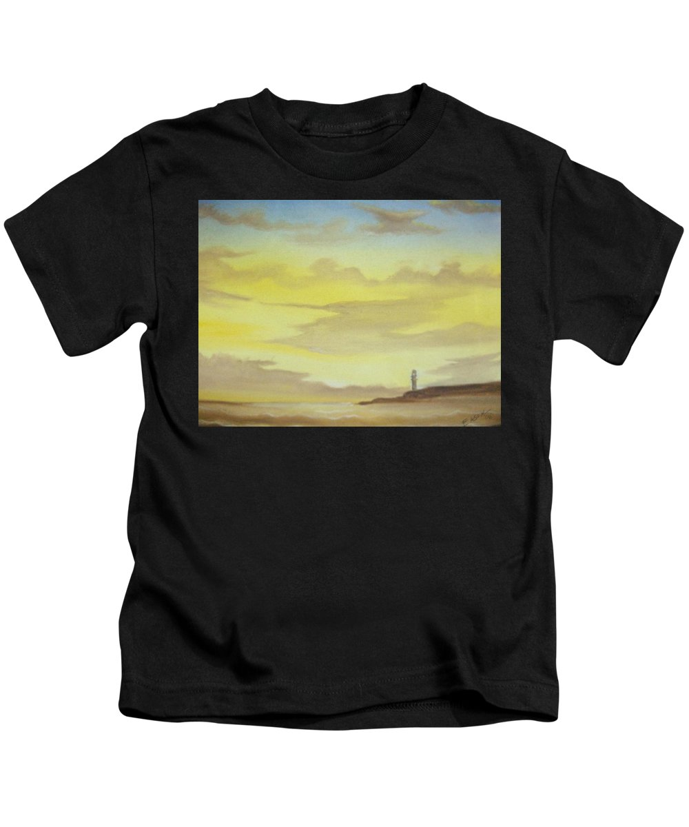 Lighthouse Kids T-Shirt featuring the painting Lighthouse In The Distance by Scott Easom