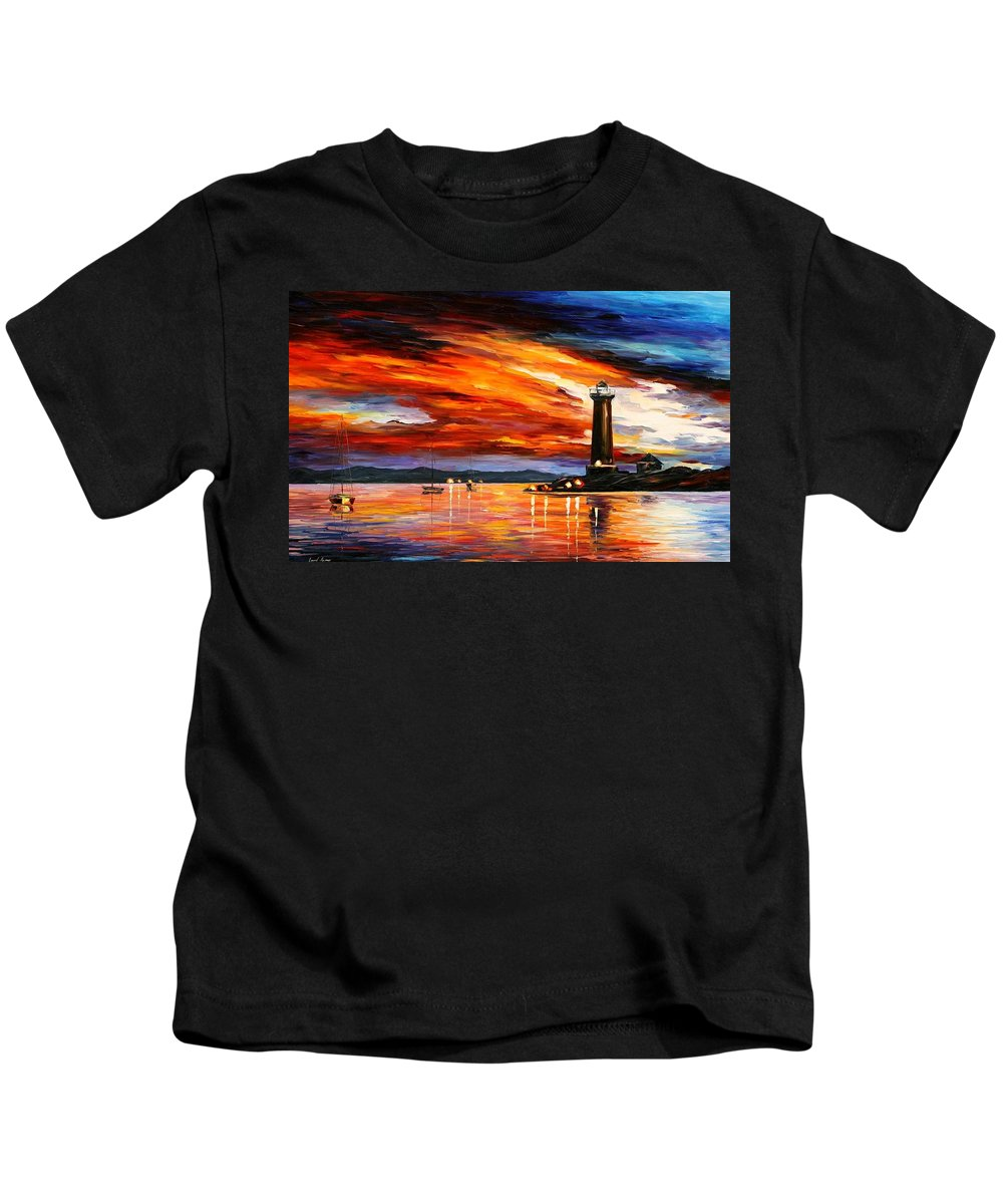 Afremov Kids T-Shirt featuring the painting Lighthouse by Leonid Afremov