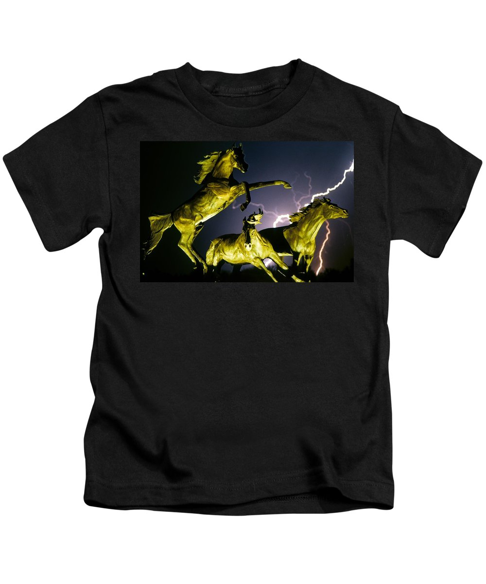 Lightning Kids T-Shirt featuring the photograph Lightning At Horse World Fine Art Print by James BO Insogna