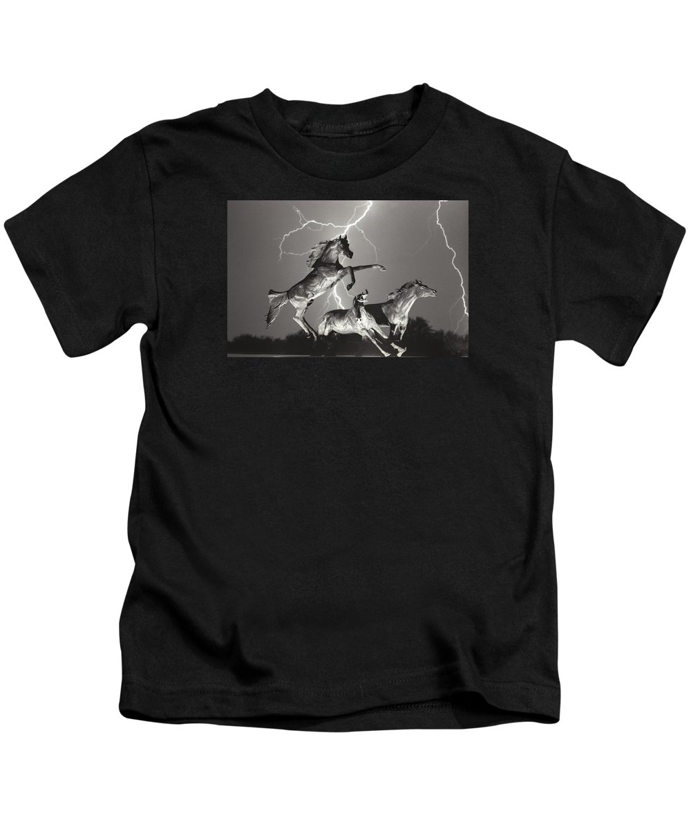 Horses Kids T-Shirt featuring the photograph Lightning At Horse World by James BO Insogna