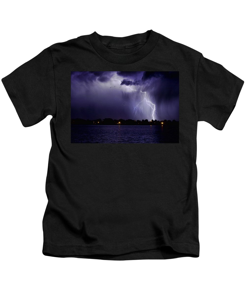 Lightning Kids T-Shirt featuring the photograph Lightning Bolt Energy Color by James BO Insogna