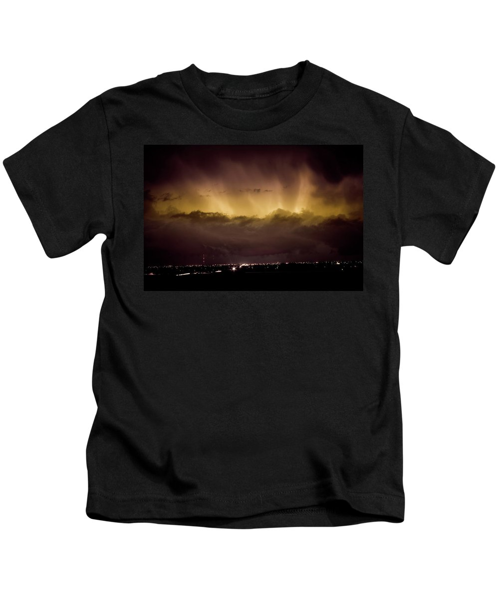 bo Insogna Kids T-Shirt featuring the photograph Lightning Cloud Burst Boulder County Colorado Im29 by James BO Insogna