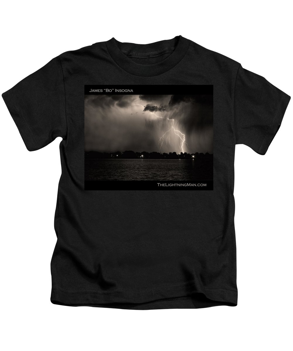 Lightning Kids T-Shirt featuring the photograph Lightning Energy Poster Print by James BO Insogna
