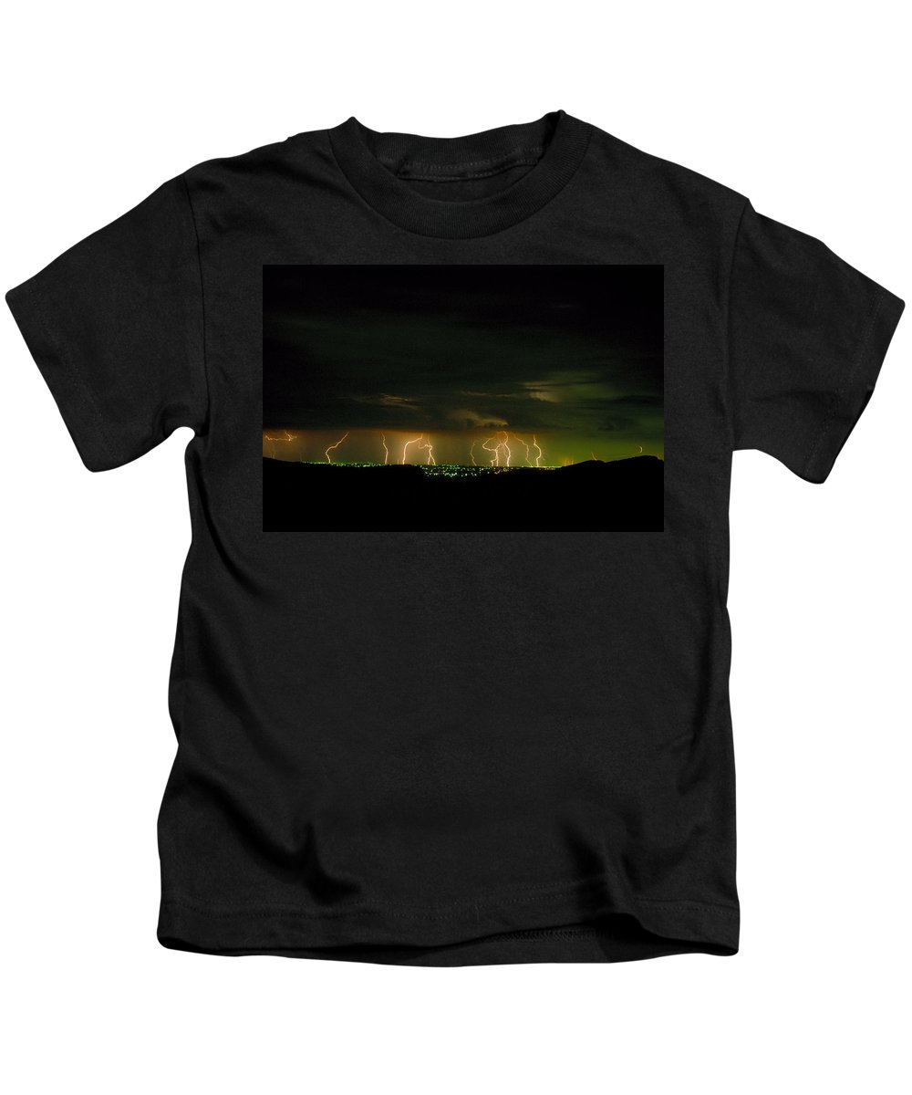 Weather Kids T-Shirt featuring the photograph Lightning Over Denver by Jerry McElroy