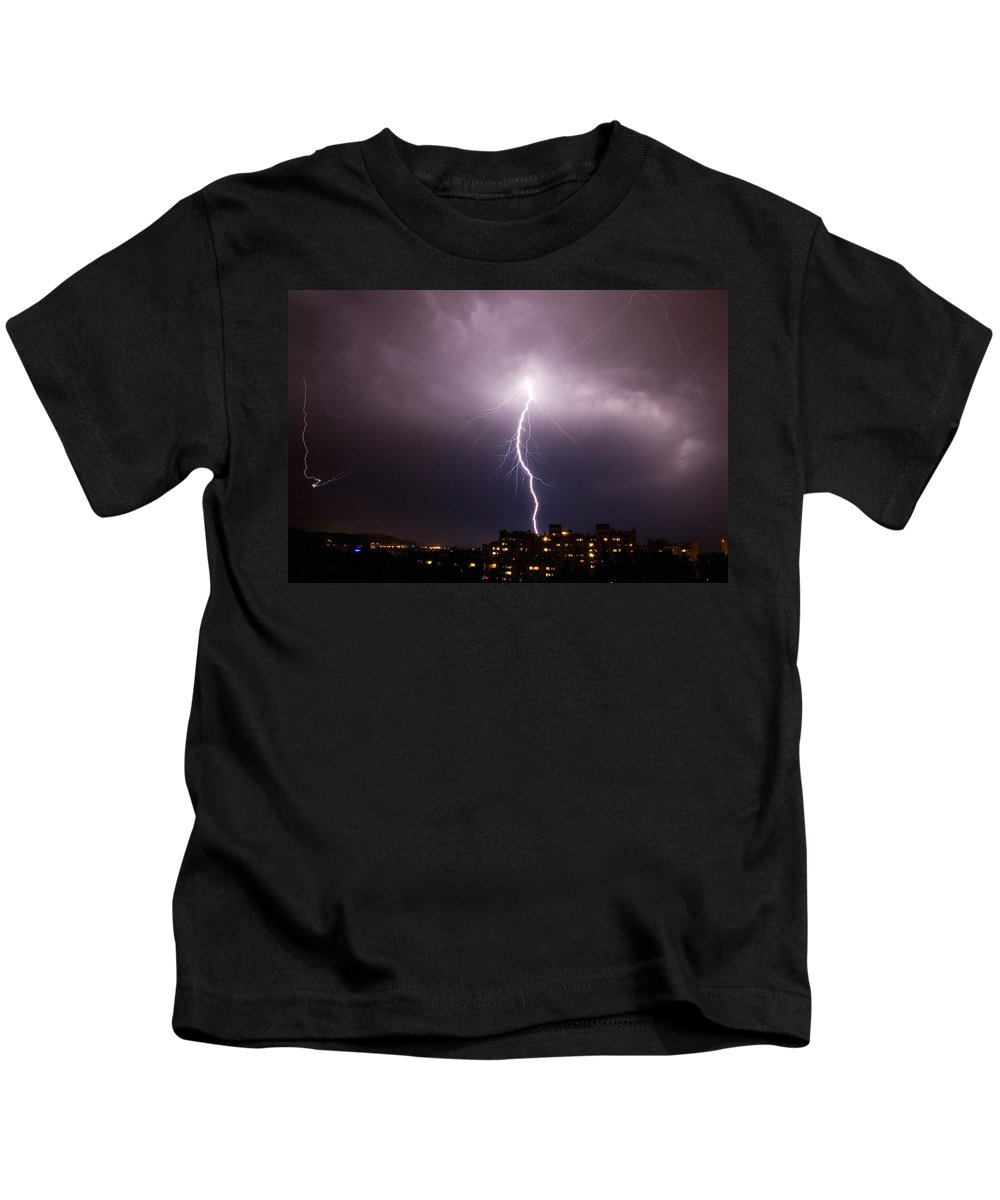 Weather Kids T-Shirt featuring the photograph Lightning Strike by Ian Middleton