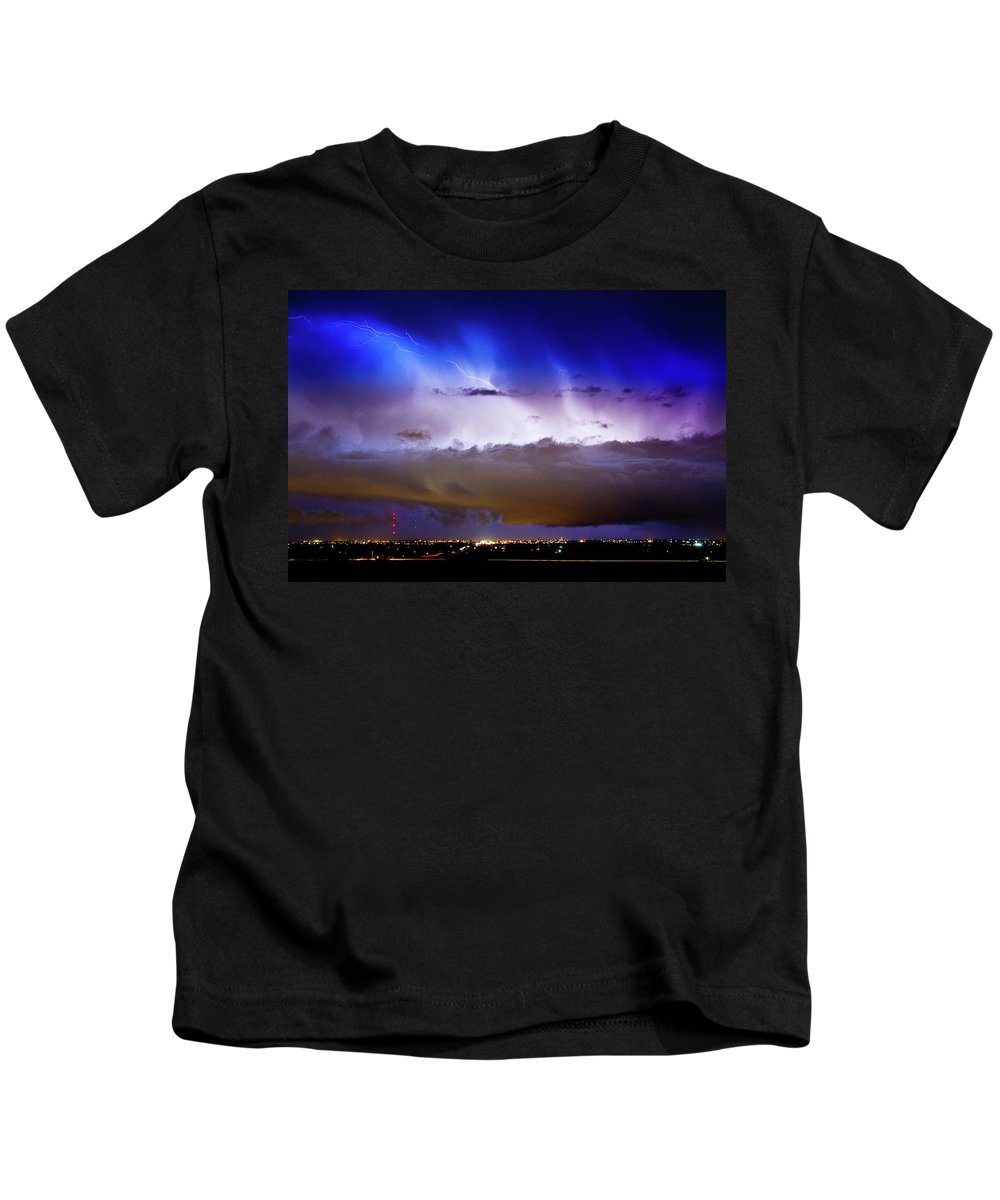 Bo Insogna Kids T-Shirt featuring the photograph Lightning Thunder Head Cloud Burst Boulder County Colorado Im39 by James BO Insogna