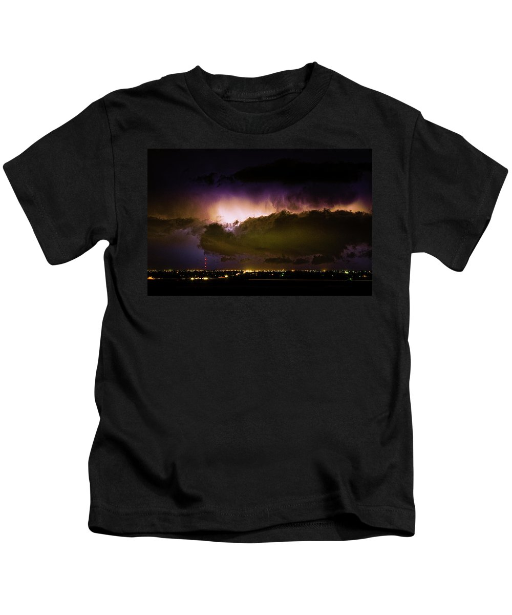 Bo Insogna Kids T-Shirt featuring the photograph Lightning Thunderstorm Cloud Burst by James BO Insogna
