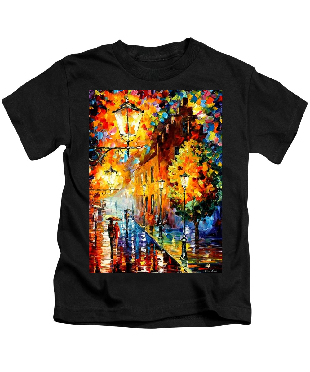 Afremov Kids T-Shirt featuring the painting Lights In The Night by Leonid Afremov