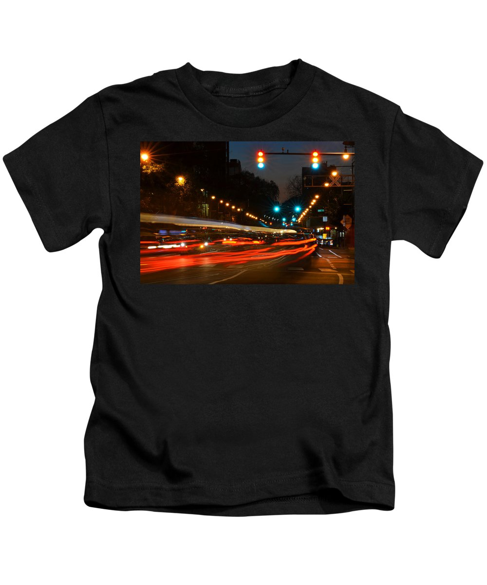 Cambridge Kids T-Shirt featuring the photograph Lights Of The City by Toby McGuire