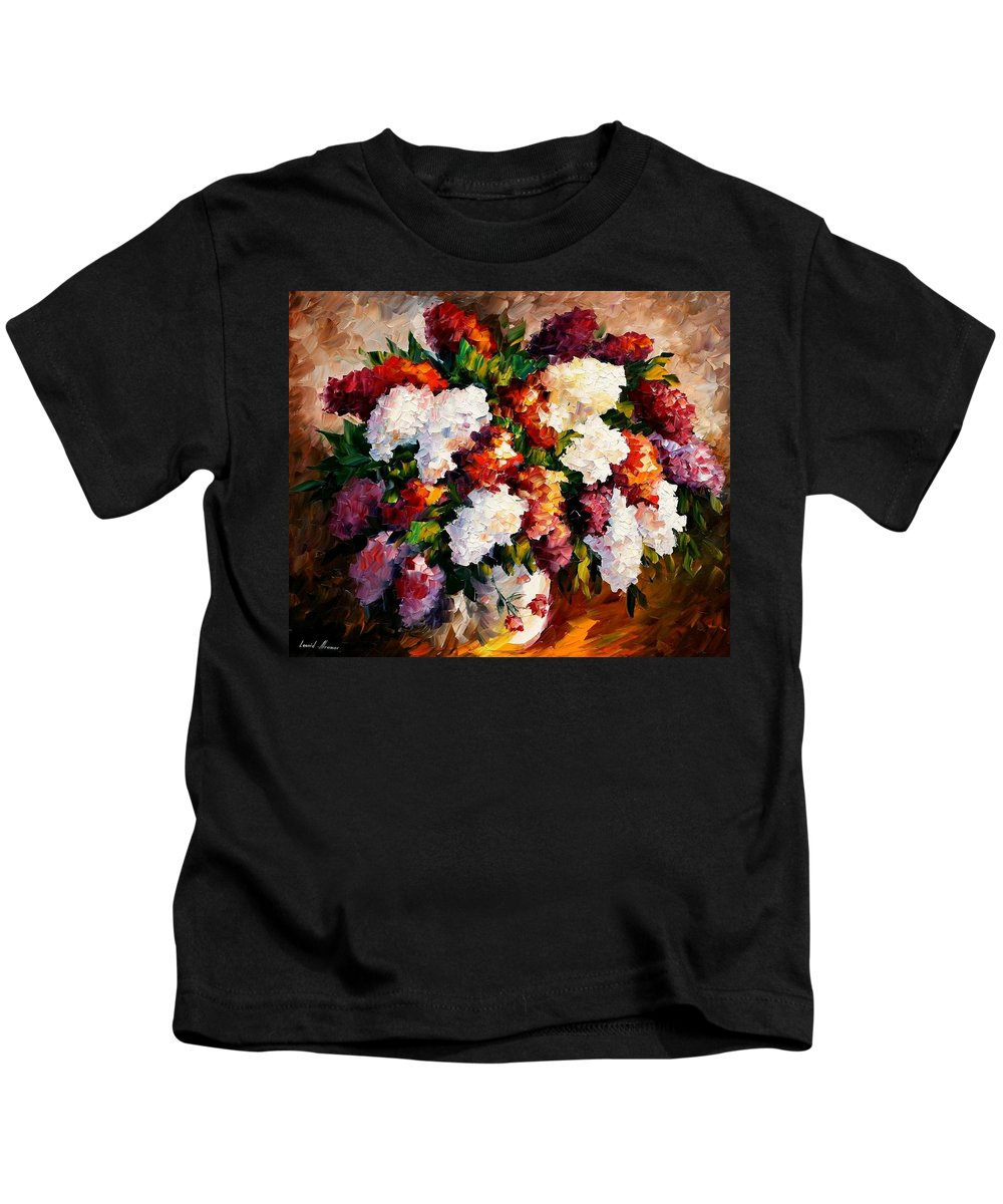 Afremov Kids T-Shirt featuring the painting Lilac For My Beloved by Leonid Afremov