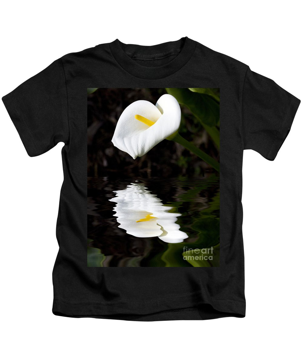 Lily Reflection Flora Flower Kids T-Shirt featuring the photograph Lily Reflection by Sheila Smart Fine Art Photography
