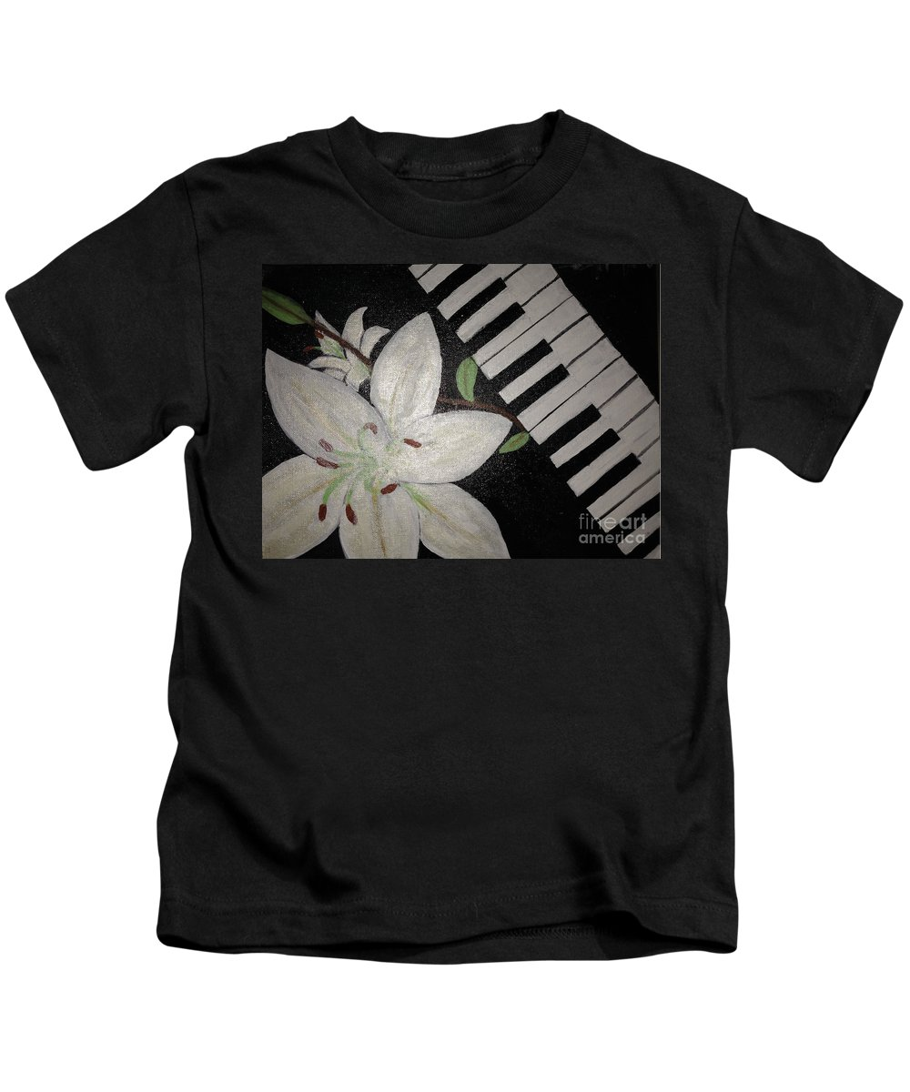 Kids T-Shirt featuring the painting Lily's Piano by Cynthia Williams