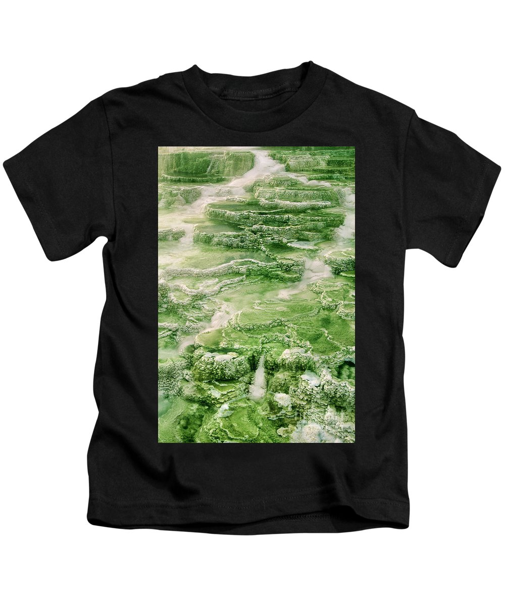 North America Kids T-Shirt featuring the photograph Limestone Detail Minerva Springs Yellowstone National Park by Dave Welling