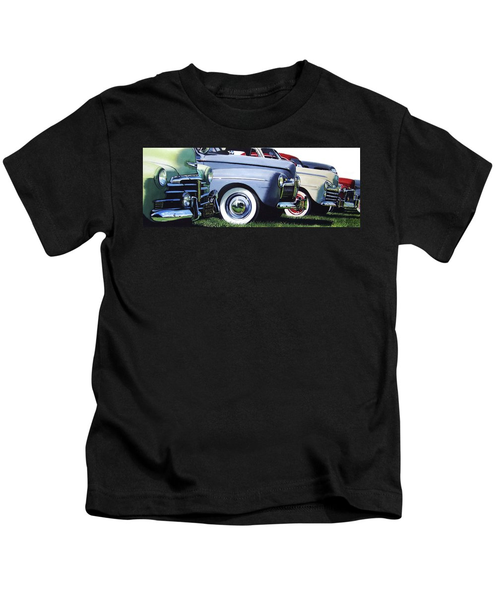 Antique Cars Kids T-Shirt featuring the painting Line Up by Denny Bond