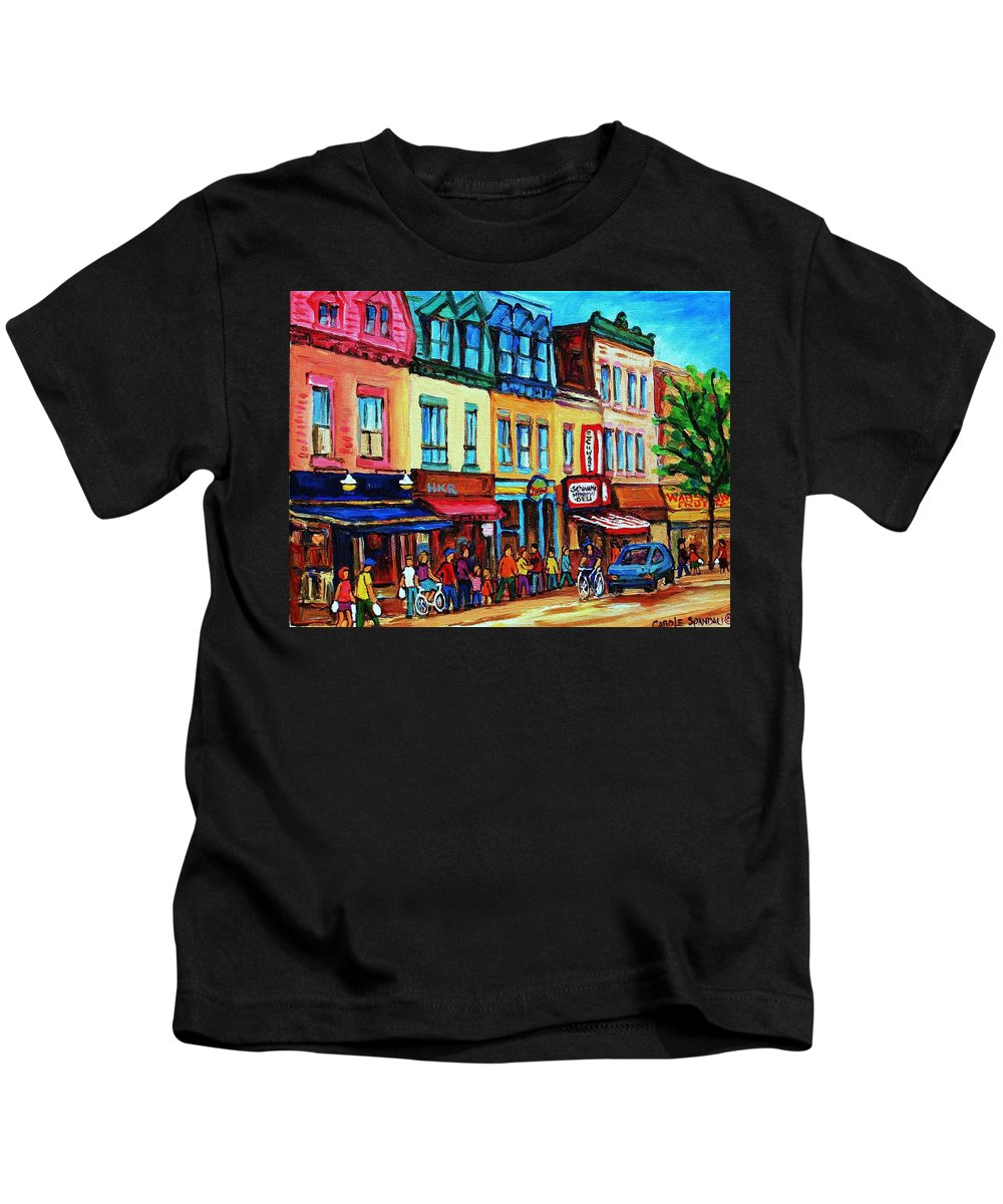 Cityscape Kids T-Shirt featuring the painting Lineup For Smoked Meat Sandwiches by Carole Spandau