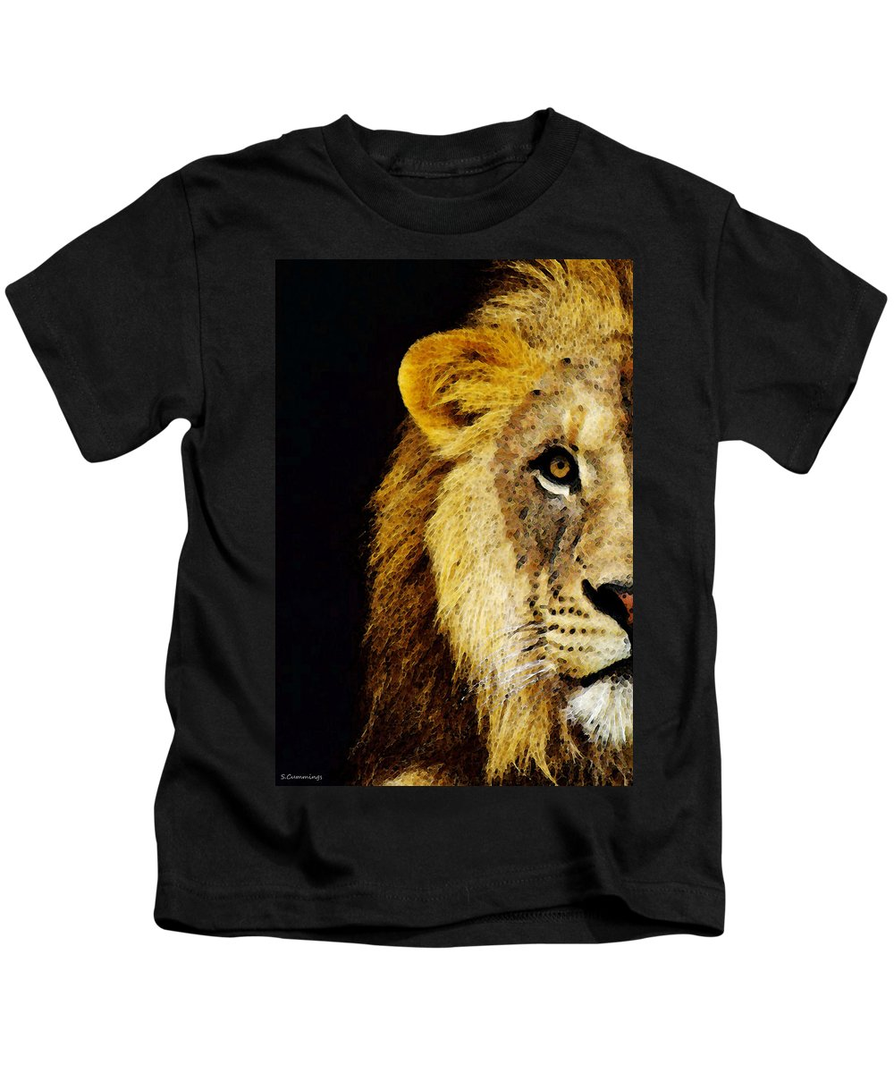 89726936e Lion Art - Face Off Kids T-Shirt for Sale by Sharon Cummings