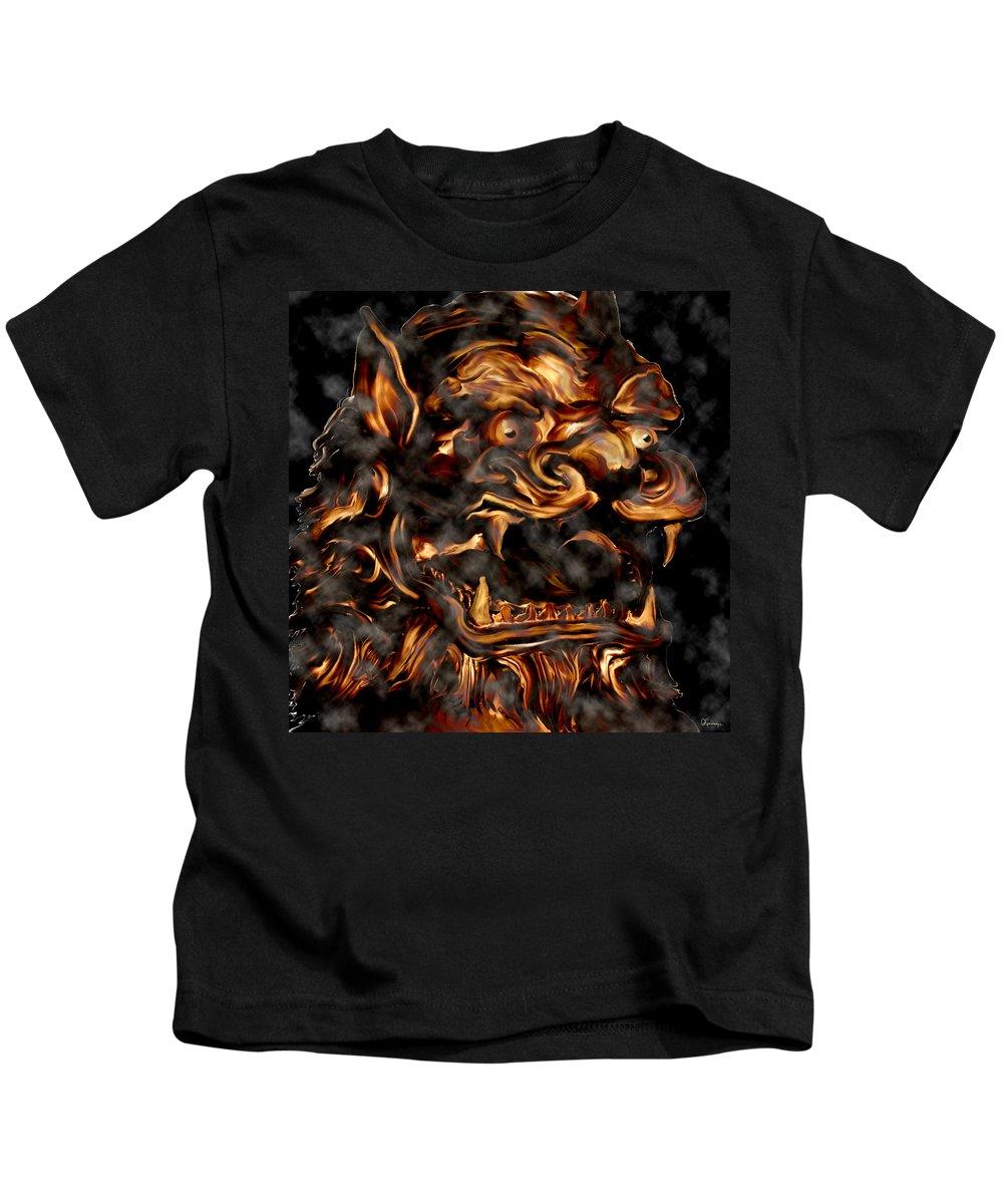 Leo Lion Goth Gothic Wild Emotion Feelings Animal Cloud Fierce Kids T-Shirt featuring the digital art Lions Roar by Andrea Lawrence