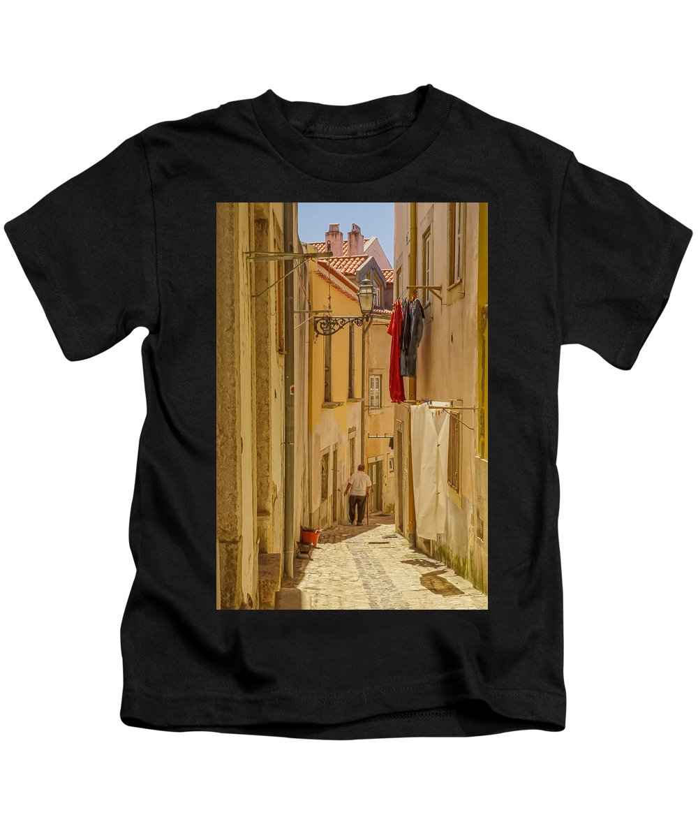 Lisbon Kids T-Shirt featuring the photograph Lisbon Street # 1 by Tom and Pat Cory