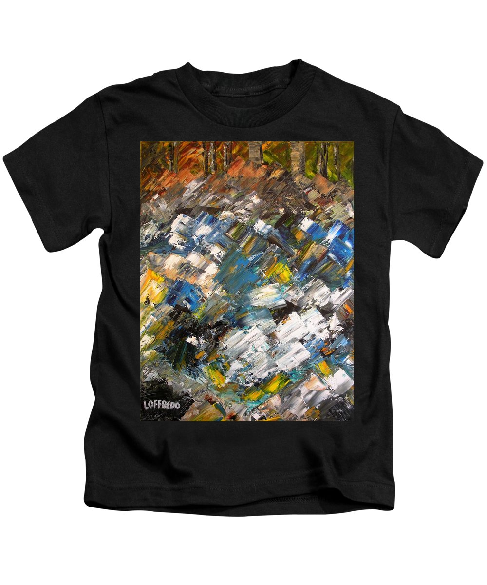 Fall Foliage Art Kids T-Shirt featuring the painting Listen To The River by Ralph Loffredo
