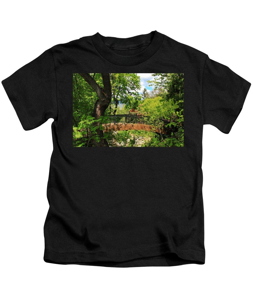 Ashland Creek Kids T-Shirt featuring the photograph Lithia Park Bridge by James Eddy