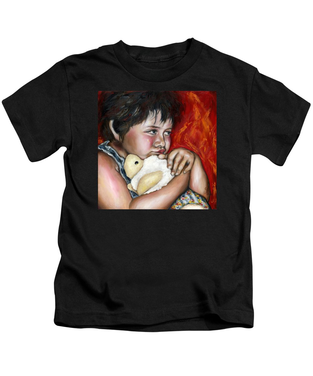 Cute Kids T-Shirt featuring the painting Little Fighter by Hiroko Sakai