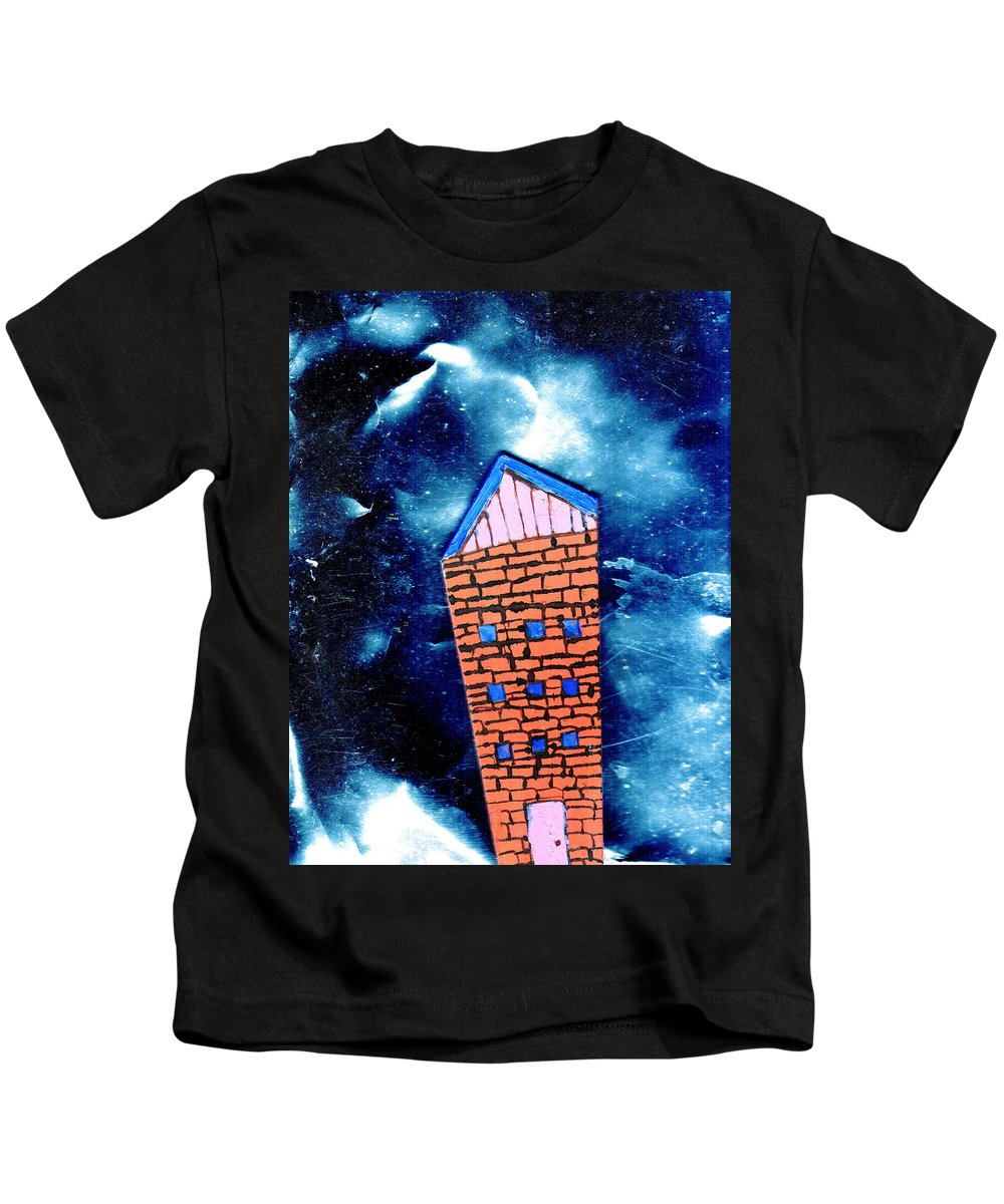 Mixed Media Kids T-Shirt featuring the painting Little House In The Cosmos by Wayne Potrafka