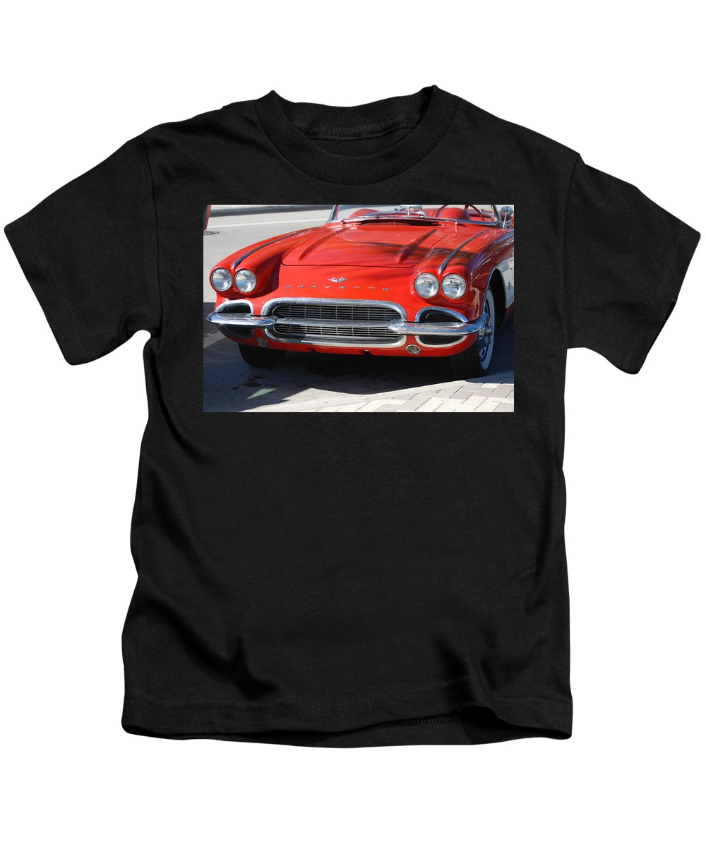 Corvette Kids T-Shirt featuring the photograph Little Red Corvette by Rob Hans
