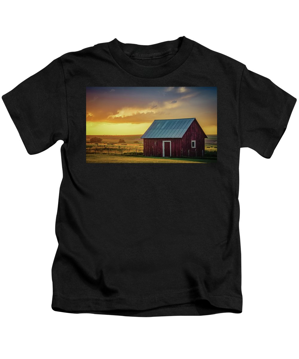 Farmland Kids T-Shirt featuring the photograph Little Red Shed by Don Schwartz