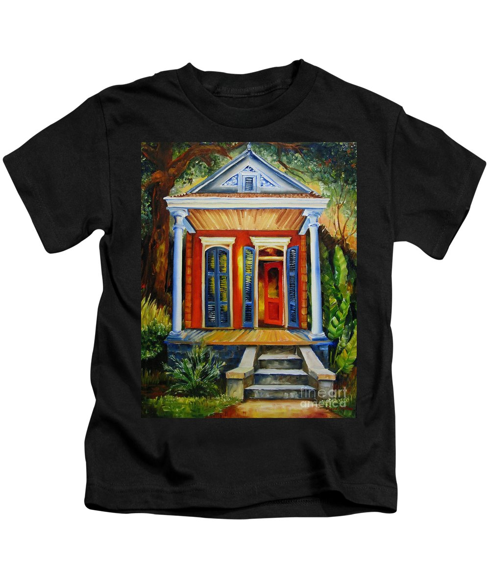 New Orleans Paintings Kids T-Shirt featuring the painting Little Red Shotgun by Diane Millsap