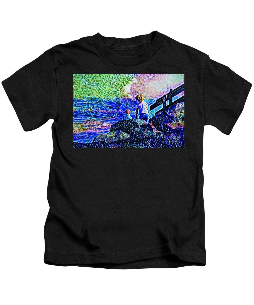 Little Rock Climbers Created Kids T-Shirt featuring the digital art Little Rock Climbers by Trudee Hunter