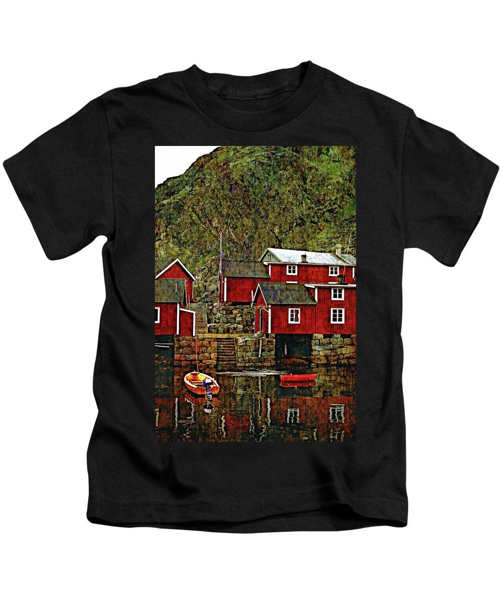 Lofoten Kids T-Shirt featuring the photograph Lofoten Fishing Huts Overlay Version by Steve Harrington