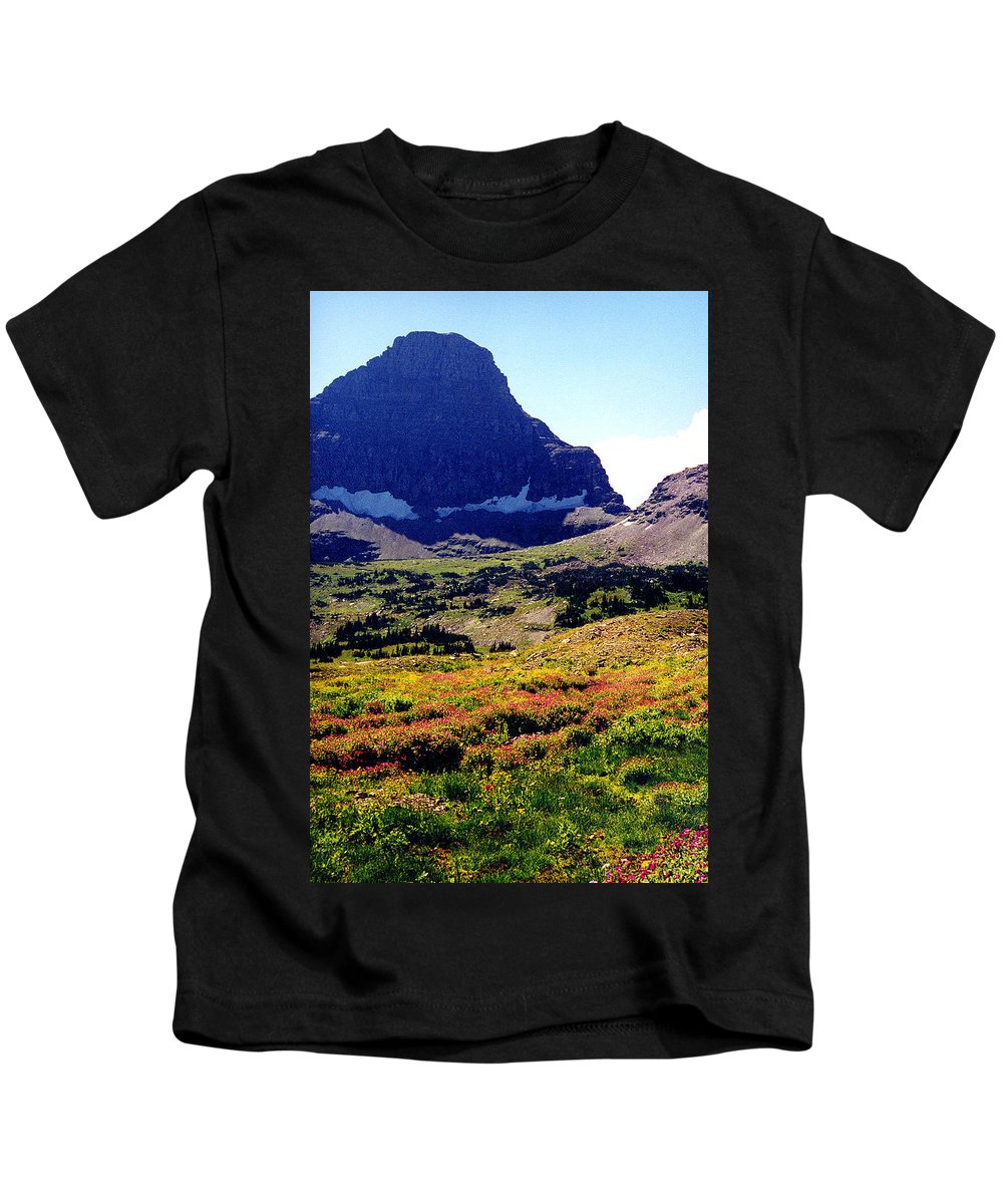Glacier National Park Kids T-Shirt featuring the photograph Logans Pass In Glacier National Park by Nancy Mueller