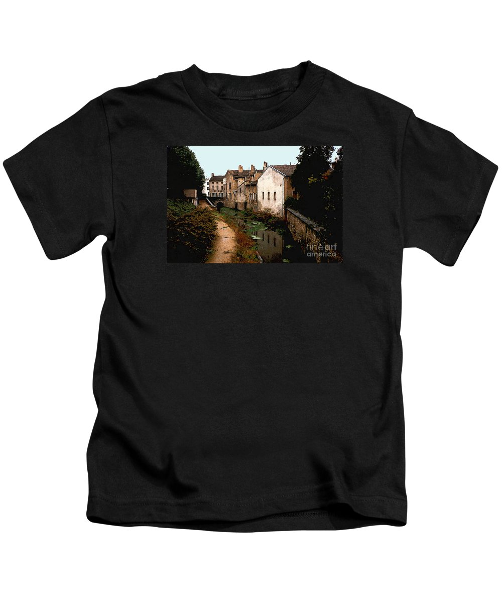 France Kids T-Shirt featuring the photograph Loire Valley Village Scene by Nancy Mueller