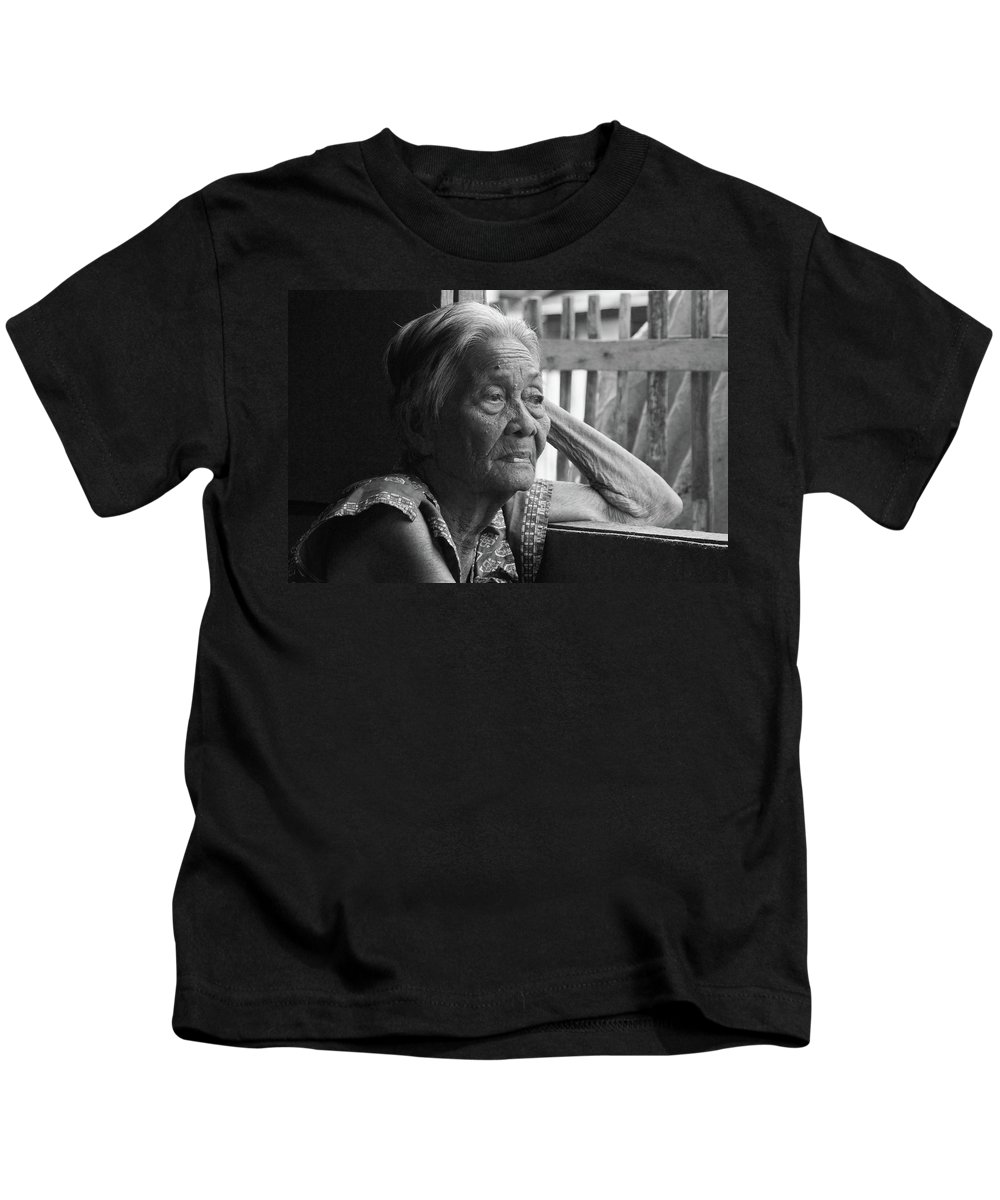 Philippines Kids T-Shirt featuring the photograph Lola Image Number 33 In Black And White. by James BO Insogna