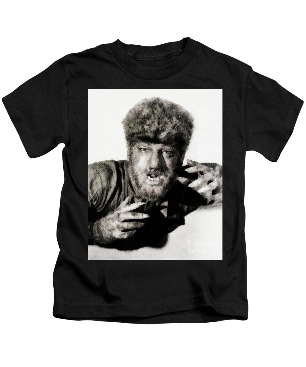 Lon Kids T-Shirt featuring the painting Lon Chaney, Jr. As Wolfman by John Springfield
