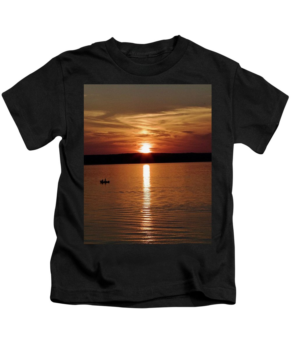 Lake Superior Kids T-Shirt featuring the photograph Lone Fisherman At Sunset by James Stroshane