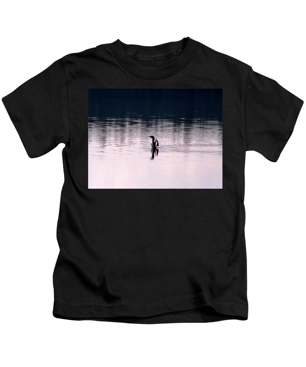 Loon Kids T-Shirt featuring the photograph Lone Loon by Pat Kenyon