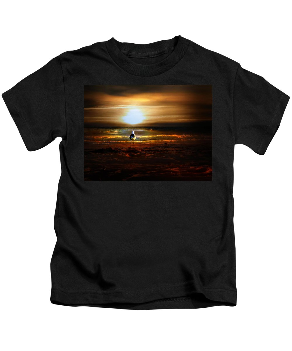 Sunrise Kids T-Shirt featuring the photograph Lone Seagull by Gravityx9 Designs