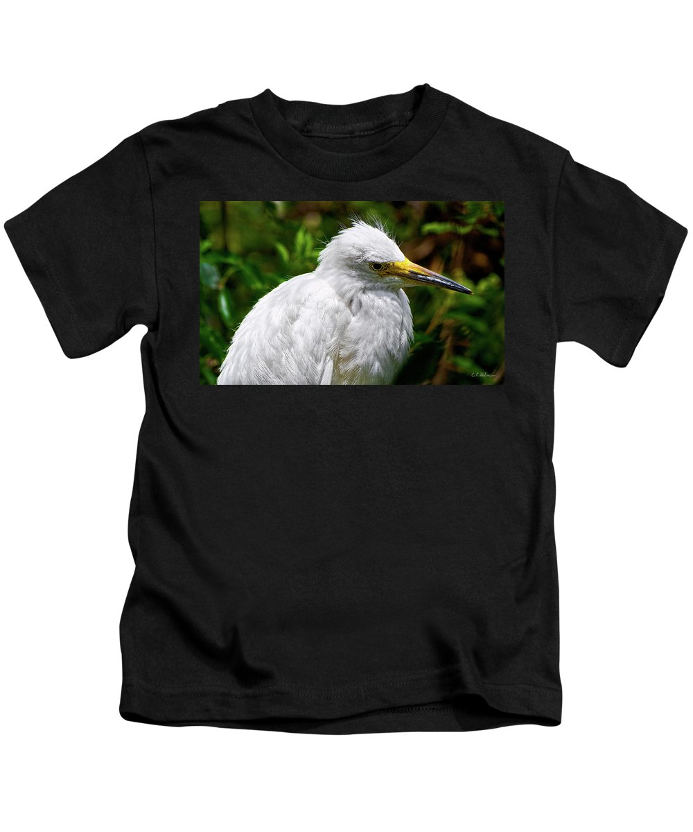 Snowy Egret Kids T-Shirt featuring the photograph Lonely Bird by Christopher Holmes