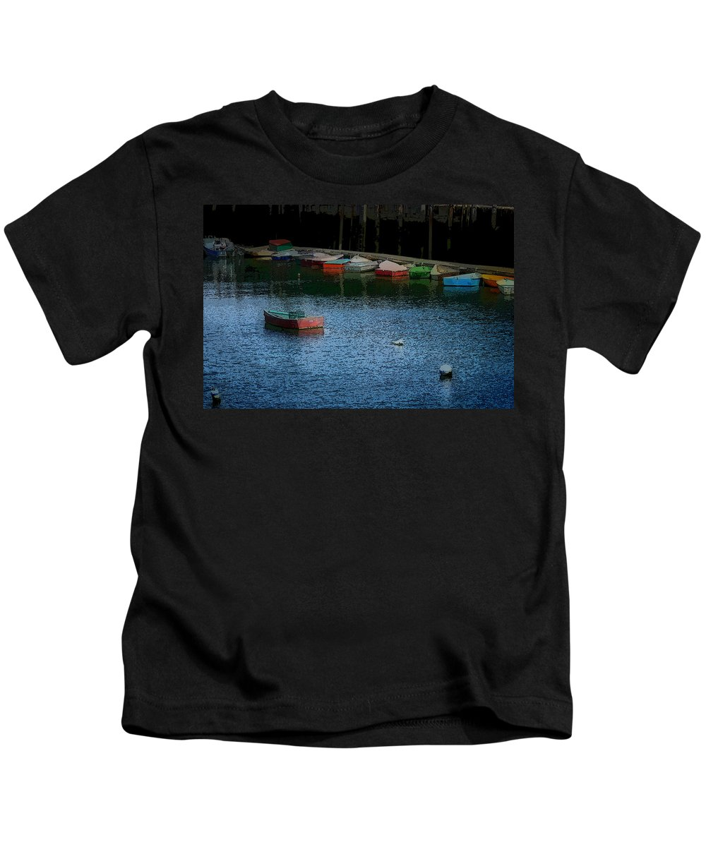 New England Boats Kids T-Shirt featuring the photograph Lonely Boat by Nancie DeMellia